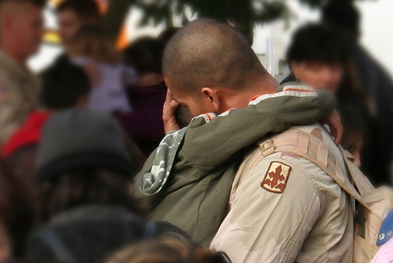 Solider returning home to family